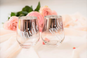 Stemless wine glasses custom text pink