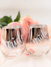 Load image into Gallery viewer, Stemless wine glasses custom text pink
