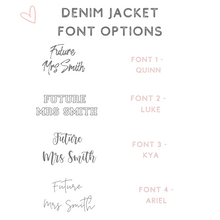 Load image into Gallery viewer, Custom denim jacket font options