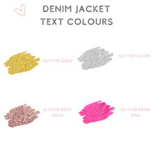 Load image into Gallery viewer, Custom denim jacket text colour options