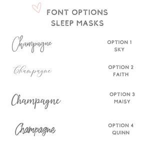 Font options sleep masks