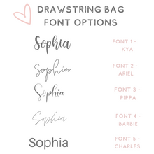 Load image into Gallery viewer, Custom text cotton drawstring bag pouch font options