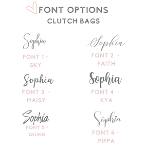 Font options acrylic clutch bags