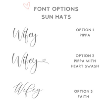 Load image into Gallery viewer, Font options for personalized sun hats
