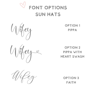 Font options for personalized sun hats