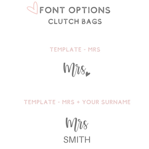 Personalized clutch bag purse font options