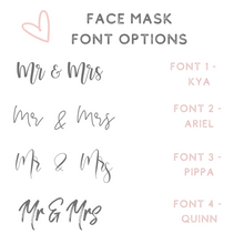 Load image into Gallery viewer, Custom text face masks bridal party face masks