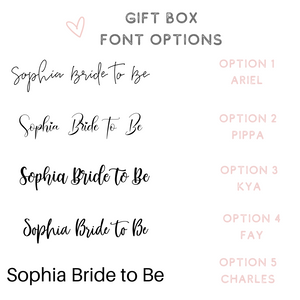 Gift box font options