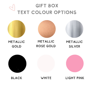 Gift box text colour options