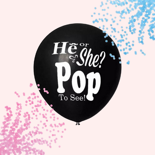 Gender reveal he or she pop to see balloon