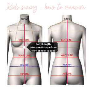 Kids sizing guide custom swimsuits how to measure