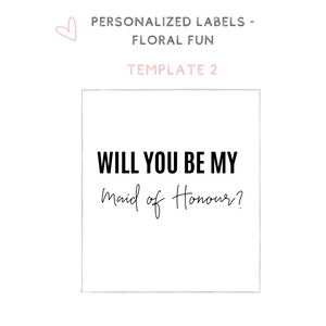 Personalized floral champagne wine label bridesmaid proposal idea