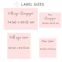 Load image into Gallery viewer, Personalized champagne wine label Will you be my Bridesmaid label sizes