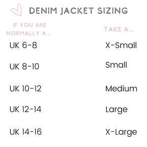 Custom denim jacket sizing