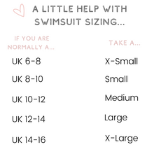 Load image into Gallery viewer, swimsuit sizing guide