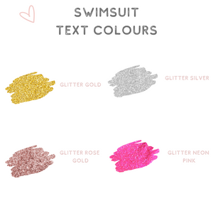 Swimsuit text colour options