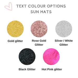 Text colour options for personalized sun hats