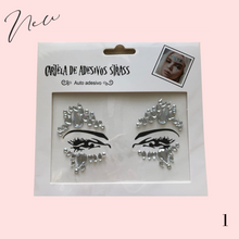 Load image into Gallery viewer, Glitter diamante face jewels temporary tattoo
