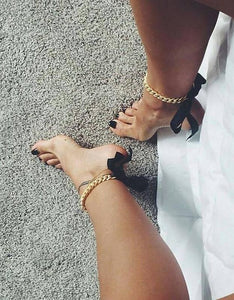 Womens ribbon ankle chain anklet