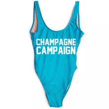 Load image into Gallery viewer, Champagne Campaign bride squad swimsuit blue