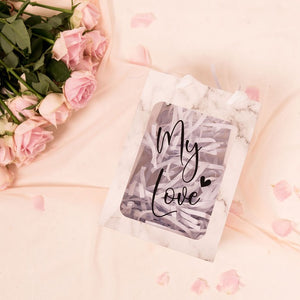 Marble Personalized Gift Bags with Clear Window