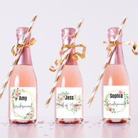Personalised Champagne / Wine Labels - Floral Frames