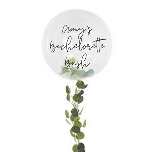 clear orb balloon with foliage tail personalized