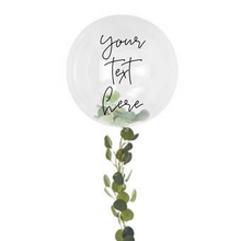 Load image into Gallery viewer, clear orb balloon with foliage tail personalized