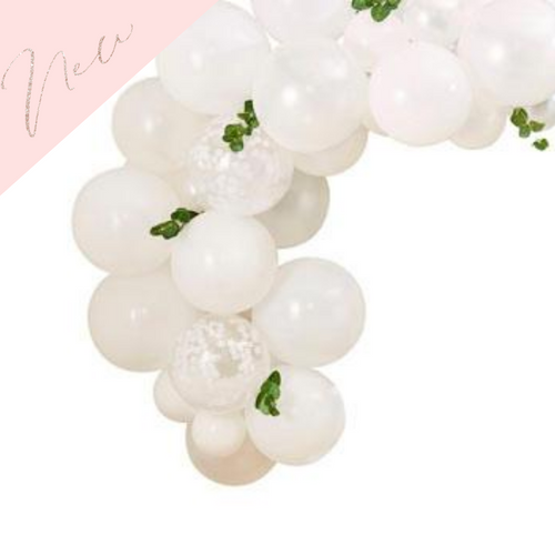 Mini white balloon arch with foliage leaves