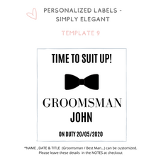 Load image into Gallery viewer, Personalized champagne wine label Will you be my Groomsman Best Man Proposal idea