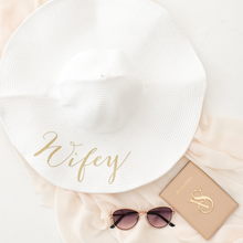 Load image into Gallery viewer, Wifey personalized wide brim floppy sun hat for honeymoon