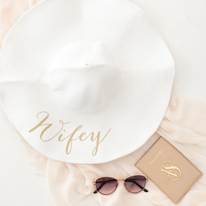 Wifey personalized wide brim floppy sun hat for honeymoon