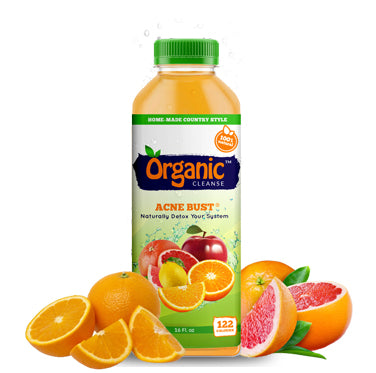 Organic Cleanse Acne Bust Citrus Fruit Juice fights bad bacteria and disease. It regulates skin tissues involved with collagen formation.