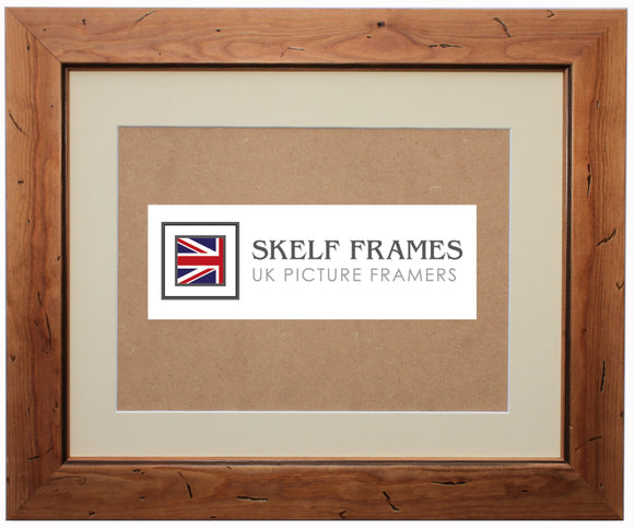 Antique Pine Distressed Wood Frame with Glass and Mount