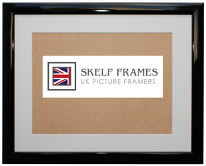 Shiny Black Wood Frame with Glass and Mount