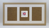 "20mm Light Oak Veneer Multi Aperture 20"" x 10"" - With Glass Frame"