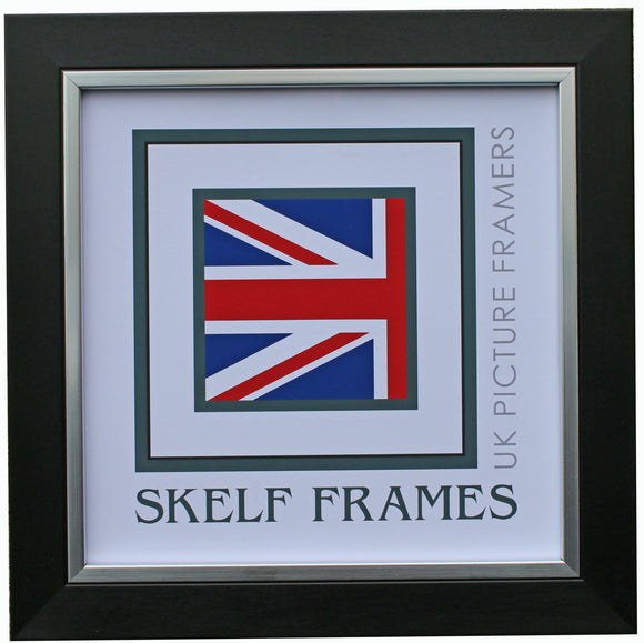 Brush Black and Silver Square Frame with Glass