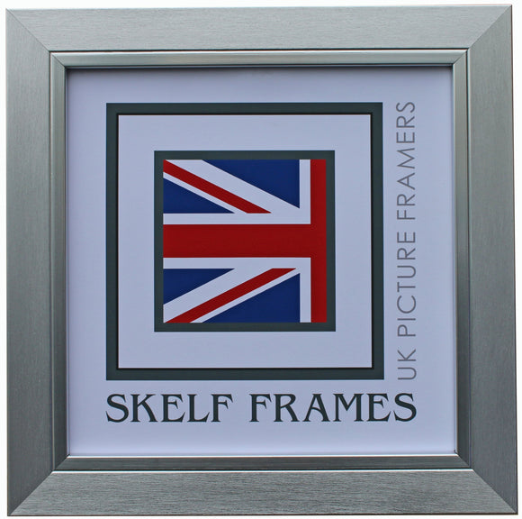 30mm Brush Flat Silver Square Frame with Glass