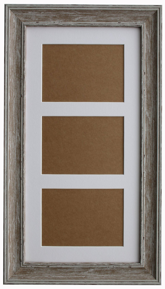 Walnut Washed Wood Grain Multi Aperture Frame - 17