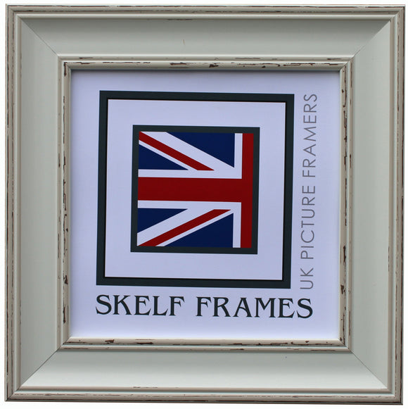 Vintage Shabby Distressed Effect - Square Frame with Glass