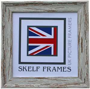 Dark Shabby Distressed Spoon Square Frame with Glass