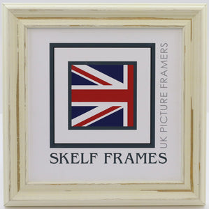 Off-White Distressed Square Frame With Glass