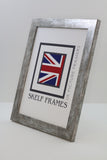 Flat Antique Silver Wood Frame with Glass