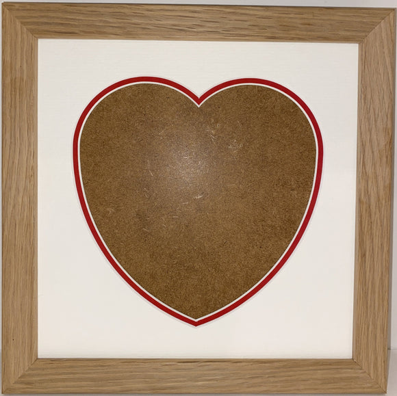 8 x 8 20mm Oak Veneer Wood Frame with Love Heart Double Mount
