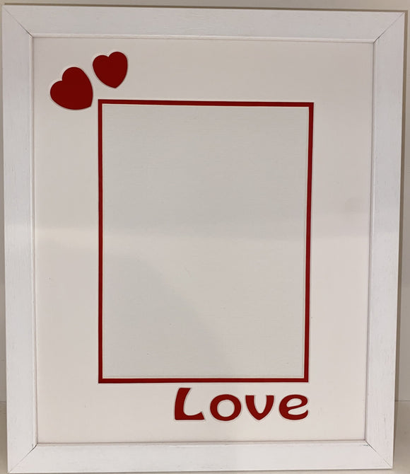 12 x 10 Inches White Frame with Love and Hearts Mount for Valentines