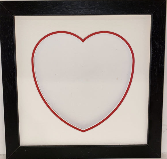 8 x 8 Black Wood Frame with Double Love Heart Mount