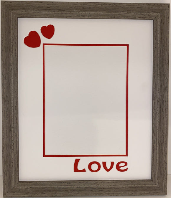 12 x 10 Inches Brushed Brown Frame with Love and Hearts Mount for Valentines