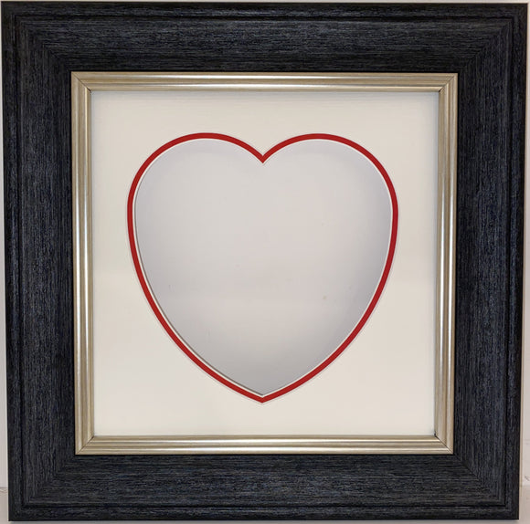 Cornwall Dark Grey Frame with Double Love Heart Mount