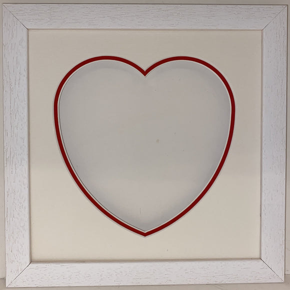 8 x 8 White Wood Frame with Double Love Heart Mount