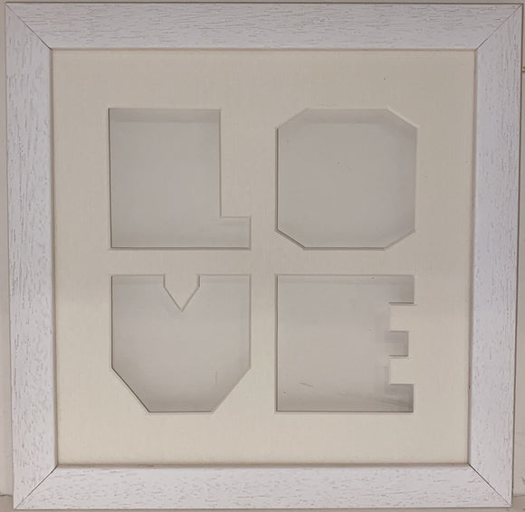 8 x 8 White Wood Frame with Love Mount
